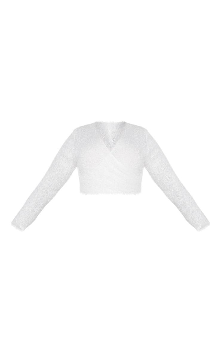Plus Cream Eyelash Knit V Neck Wrap Crop Top 3