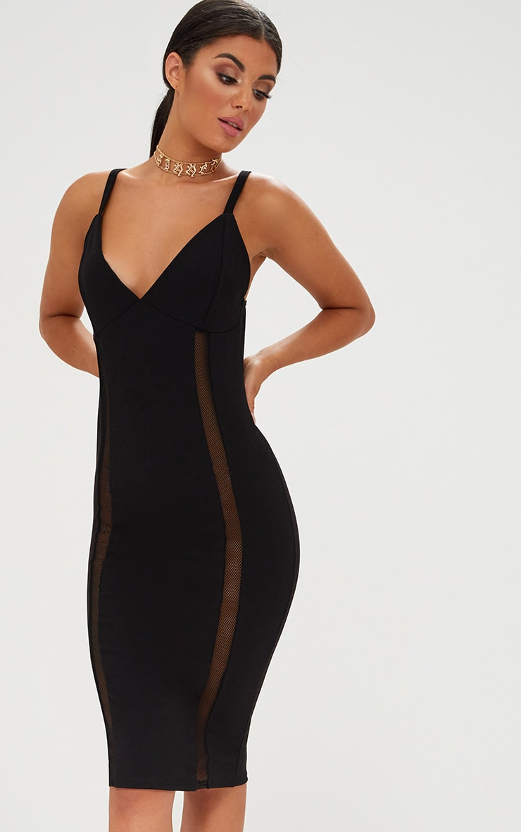 Black Strappy Fishnet Panel Midi Dress 1