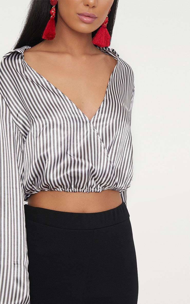 Black/White Stripe Satin Pinstripe Crop Shirt  5