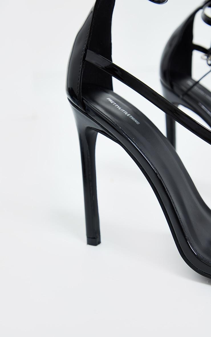 Black Wide Fit Square Toe Asymmetric Strap Sandals 4