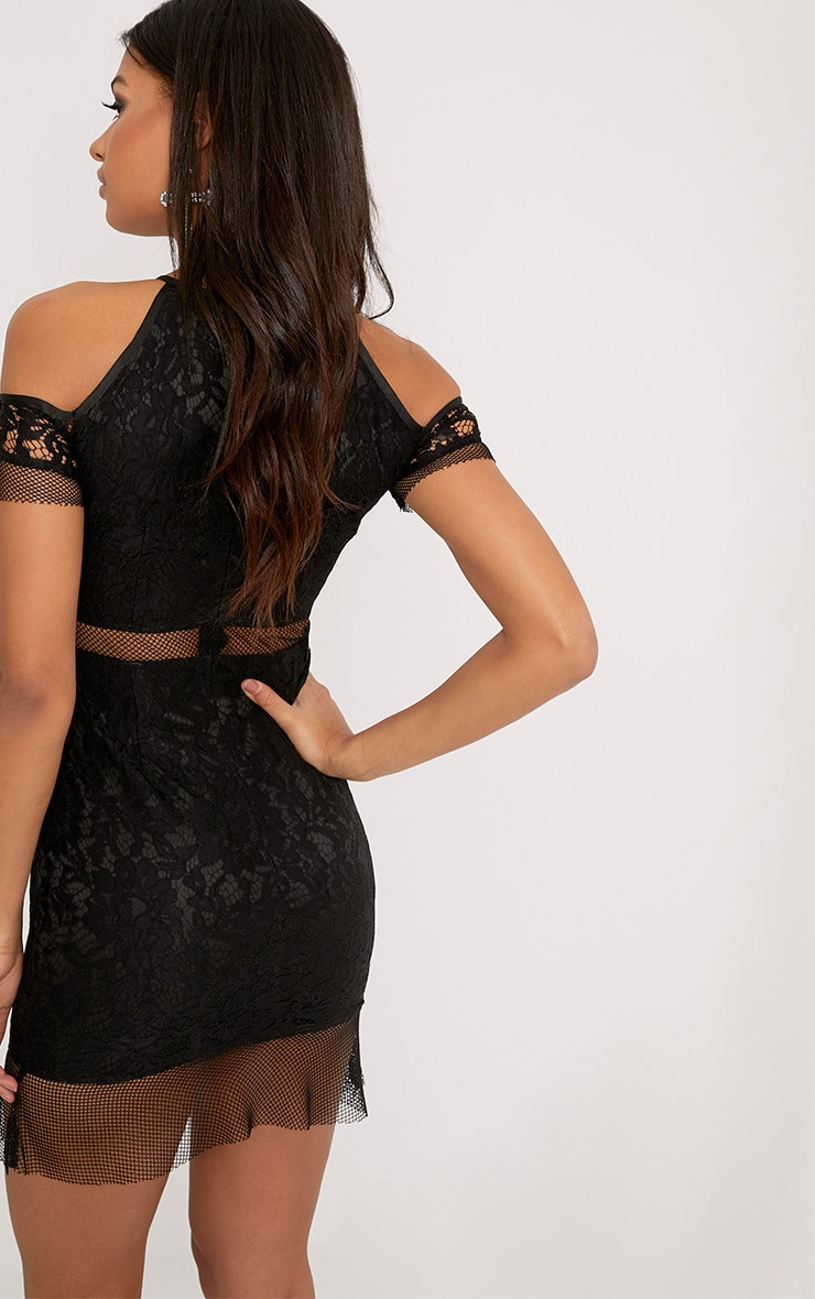 Vivien Black Lace Cold Shoulder Frill Hem Bodycon Dress 2