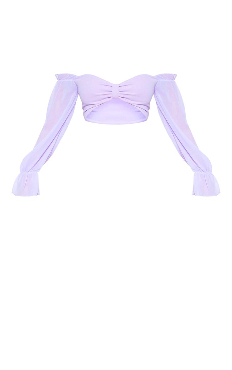 Lilac Bardot Chiffon Flare Sleeve Crop Top 3