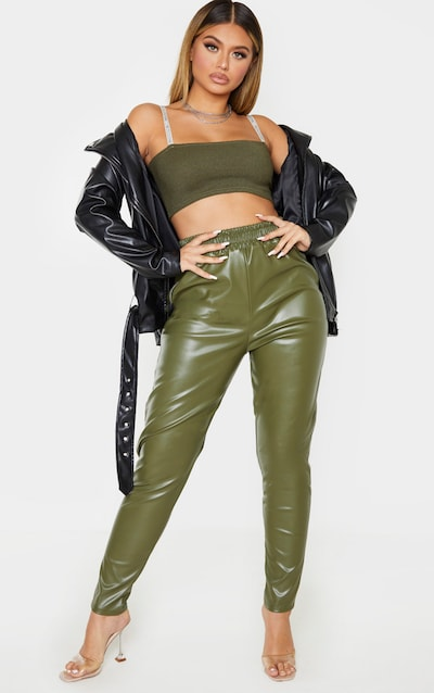 Khaki Faux Leather Zip Detail Tapered Trouser