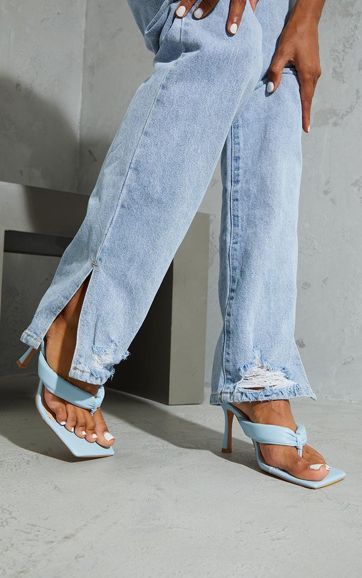 Pastel Blue Pu Tube Toe Thong Mid Heels 2