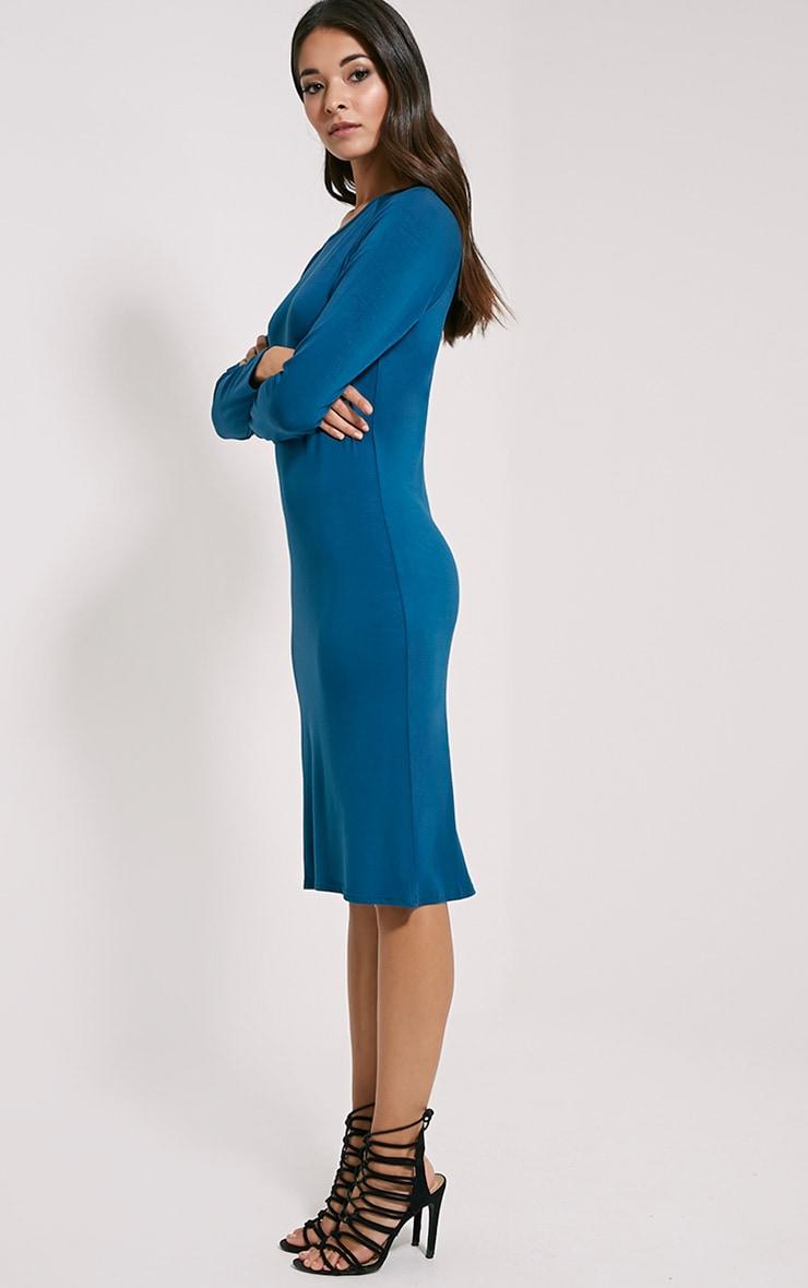 Jean Teal Long Sleeve Jersey Midi Dress 4