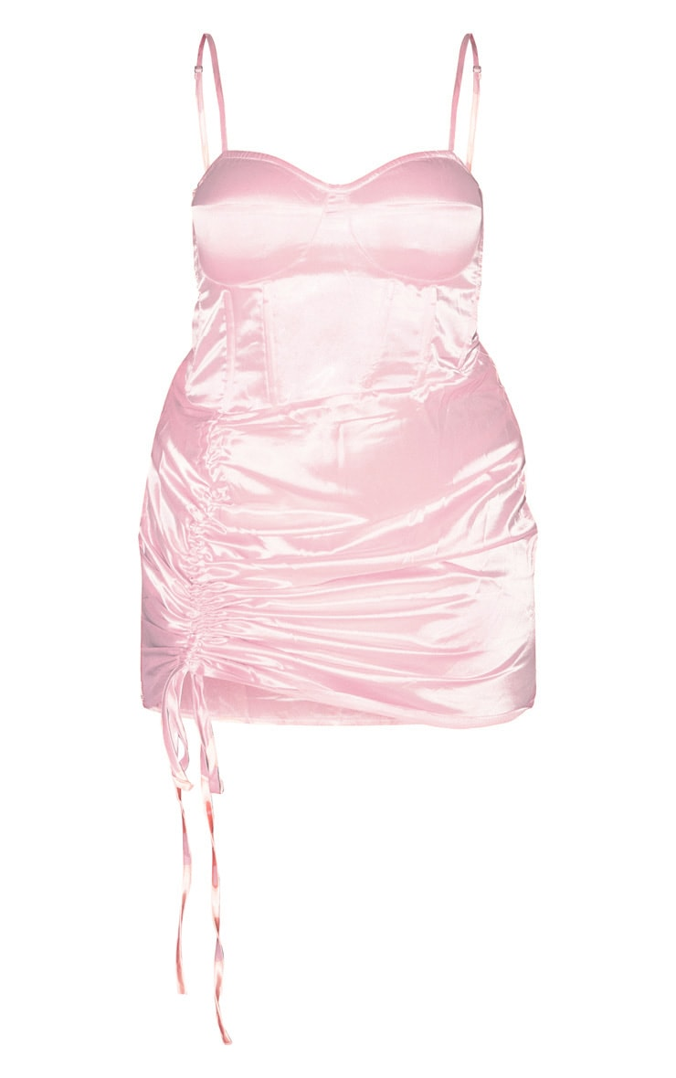 Plus Baby Pink Satin Ruched Side Bodycon Dress 3
