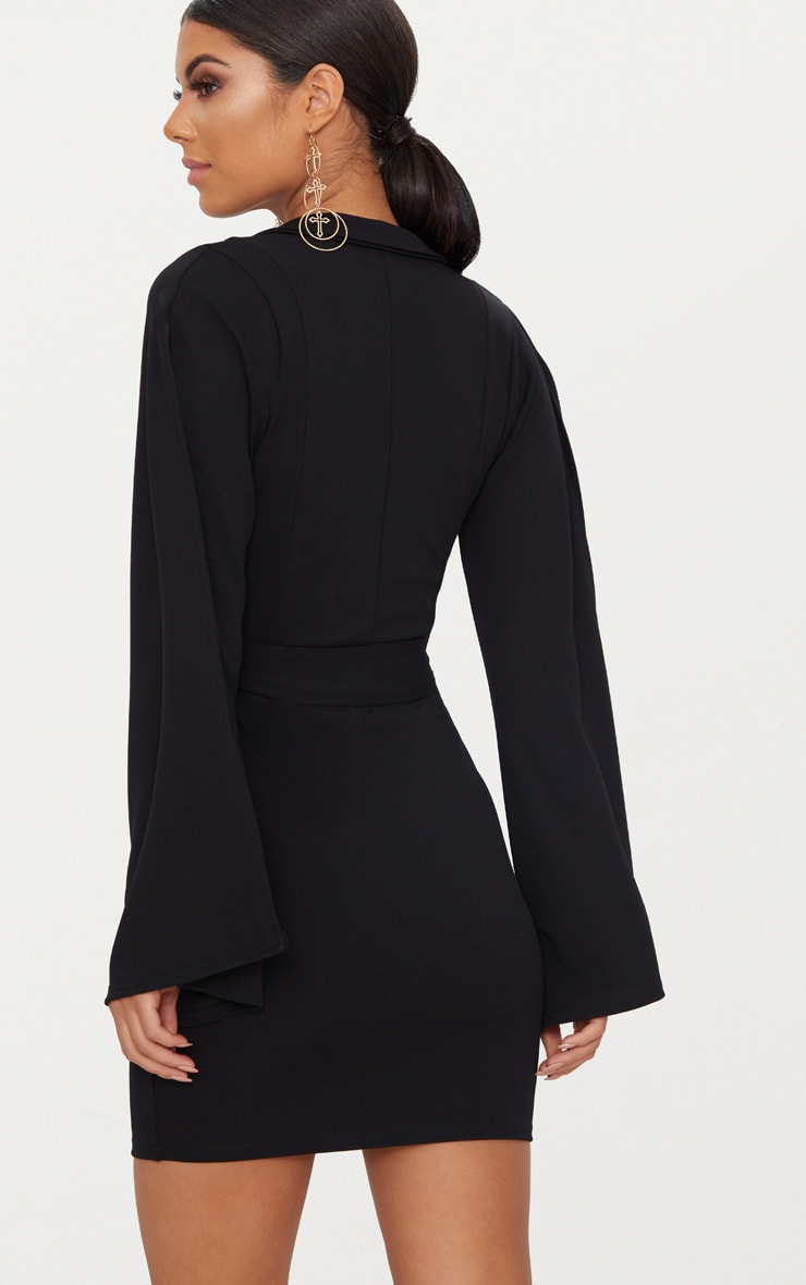 Black Split Sleeve Blazer Dress  2