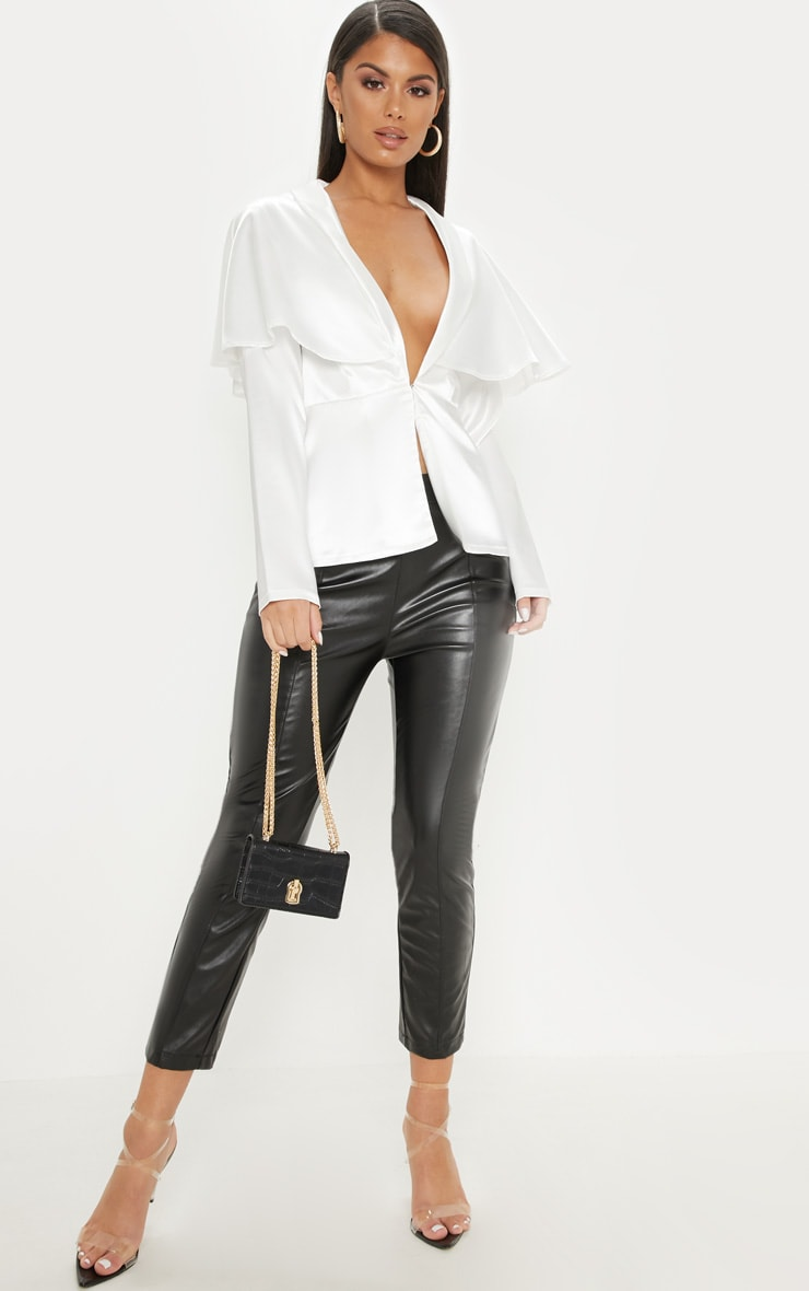 White Cape Detail Satin Plunge Shirt 4