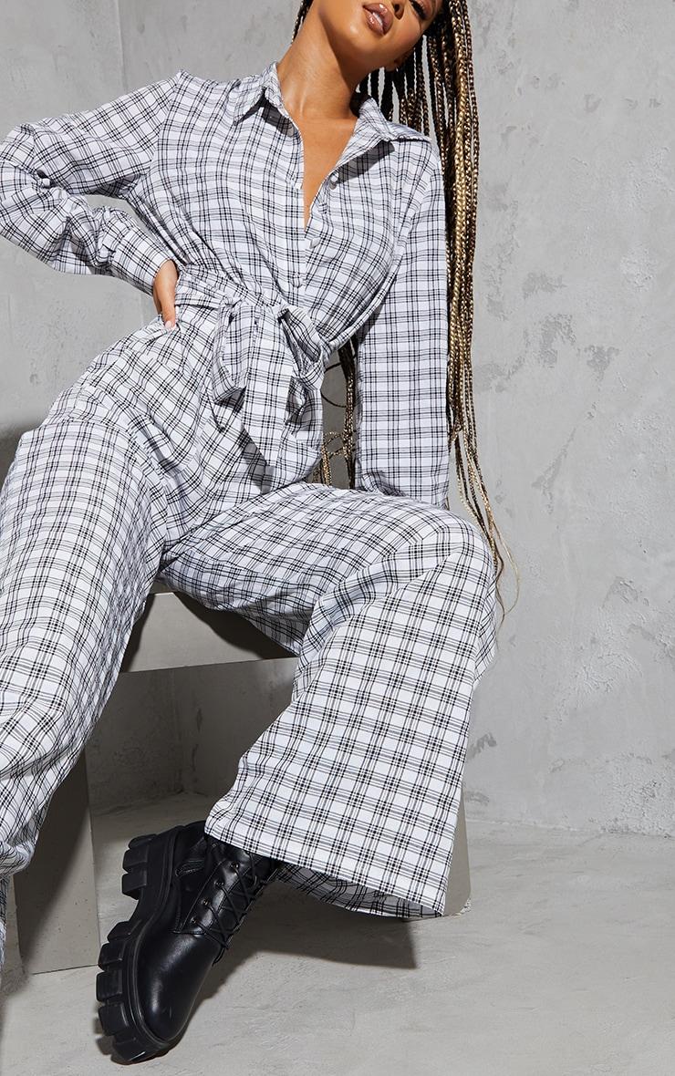 Cream Check Tie Waist Pocket Detail Shirt Jumpsuit 4