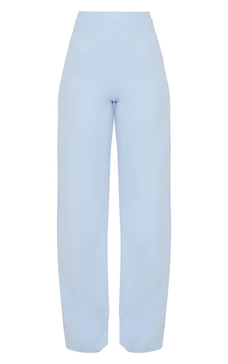 Pale Blue Wide Leg Scuba Trousers 3