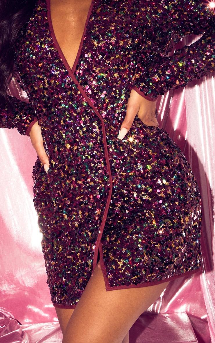 Burgundy Sequin Long Sleeve Blazer Dress 5