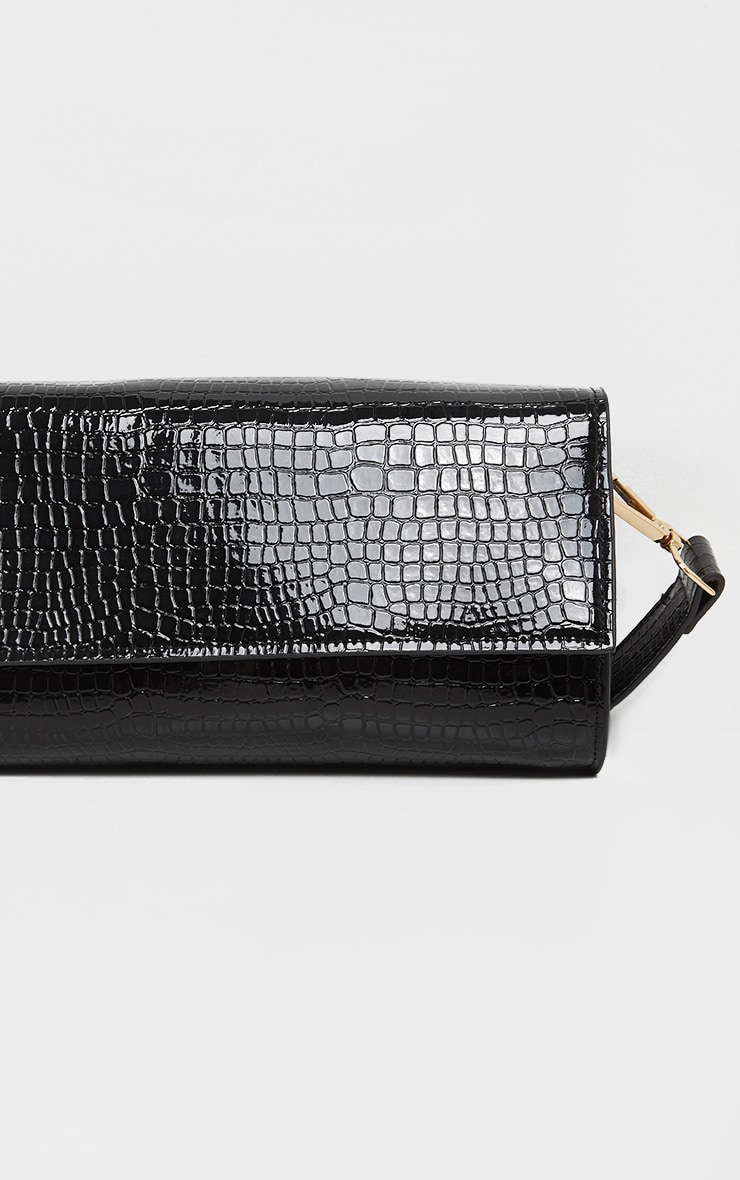 Pochette rectangle large en croco noir 3