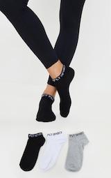 PRETTYLITTLETHING Monochrome 3 Pack Sports Ankle Socks 1