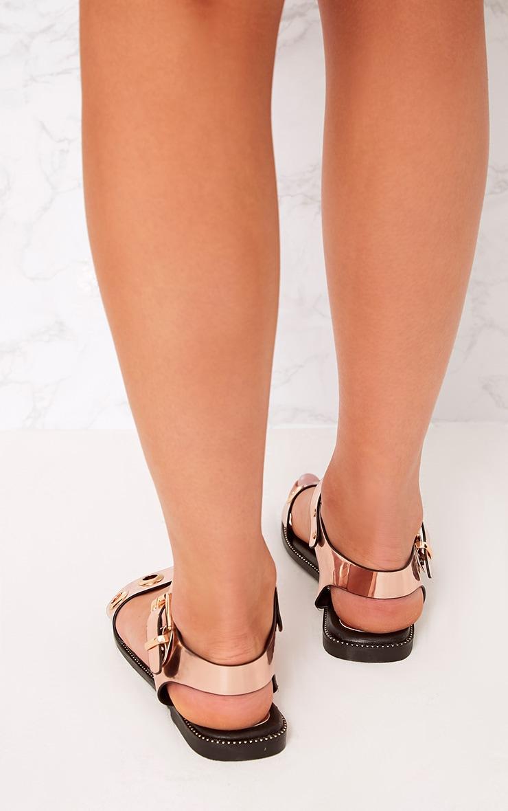 Marlene Rose Gold Metallic Eyelet Sandals 4
