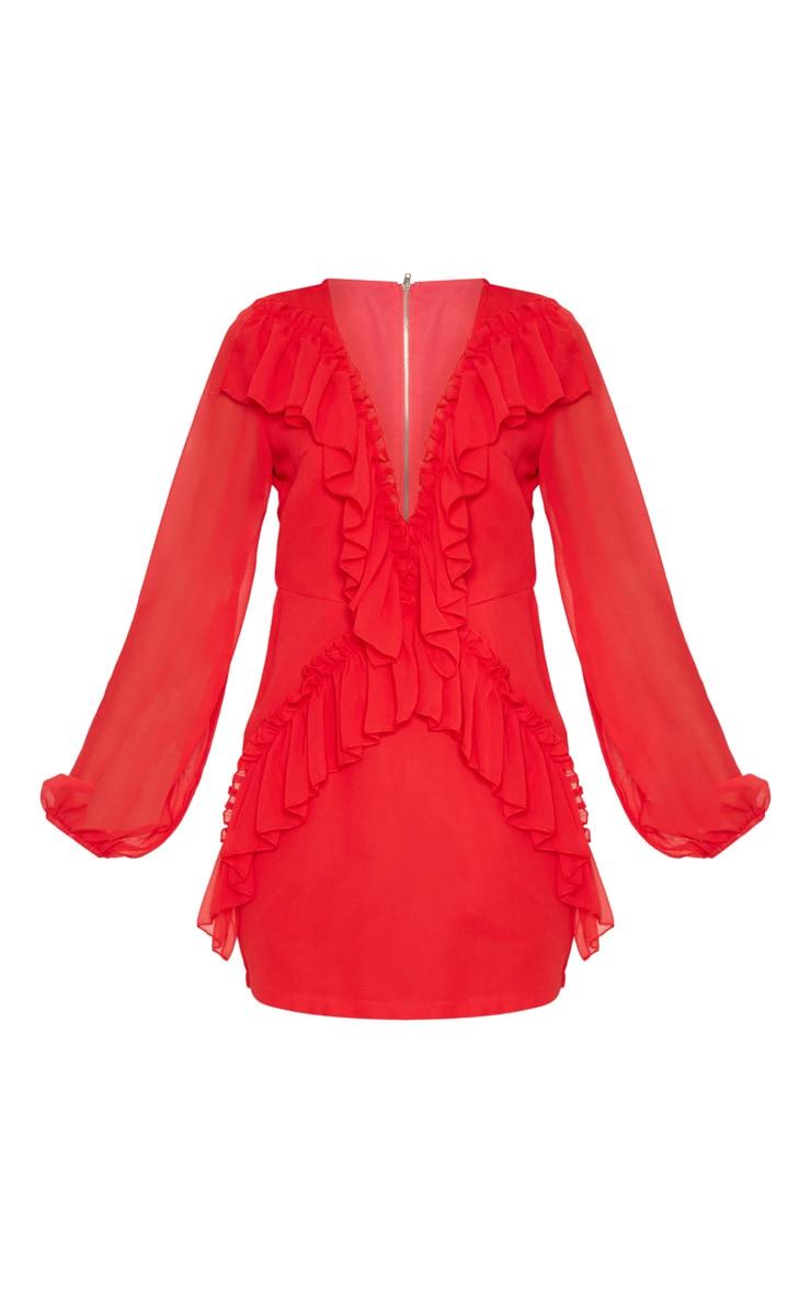 Red Chiffon Frill Detail Bodycon Dress 3
