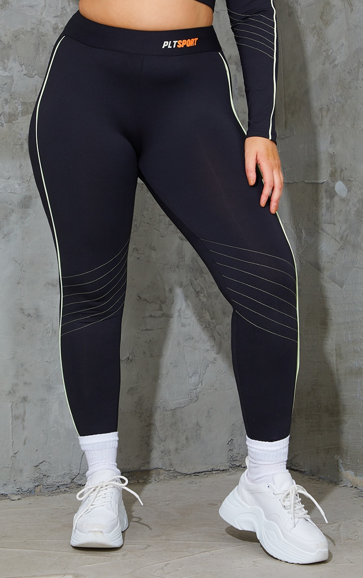 Plus Black With Lime Piping Detail Sports Leggings 2