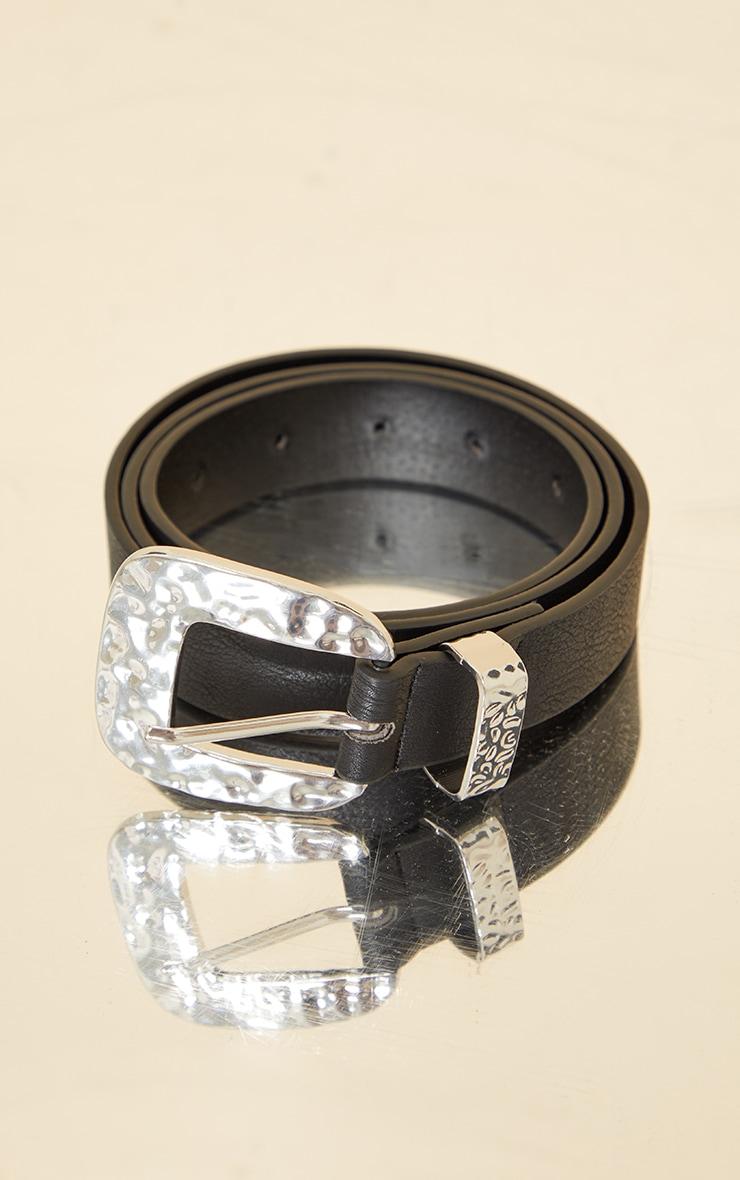 Black PU Silver Hammered Buckle Waist Belt 2