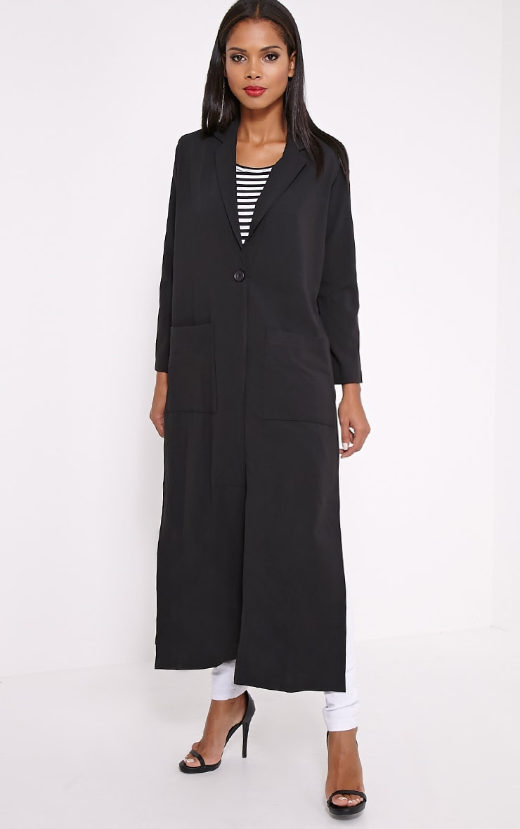 Lois Black Maxi Duster Coat  3
