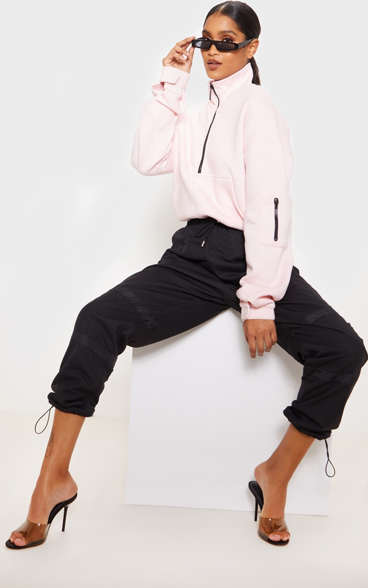 Baby Pink Oversized Zip Front Sweater 4