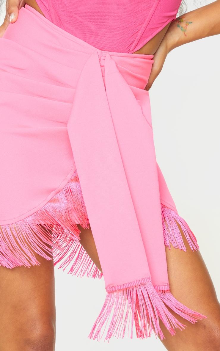Hot Pink Woven Tassel Tie Waist Wrap Skirt 5