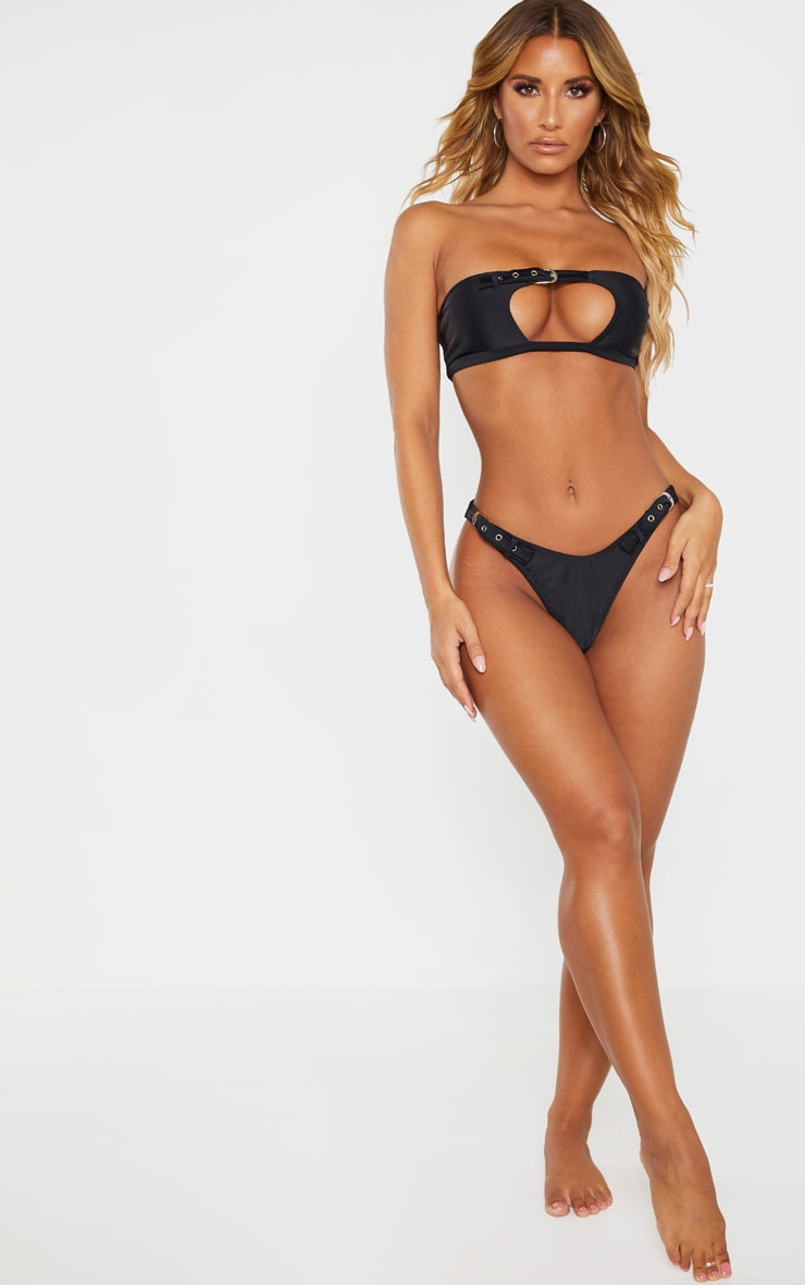 Black High Leg Double Belted Bikini Bottom 4