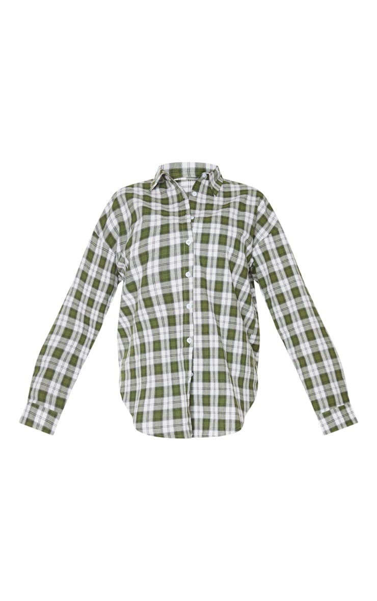 Tall Khaki Oversized Checked Shirt 3