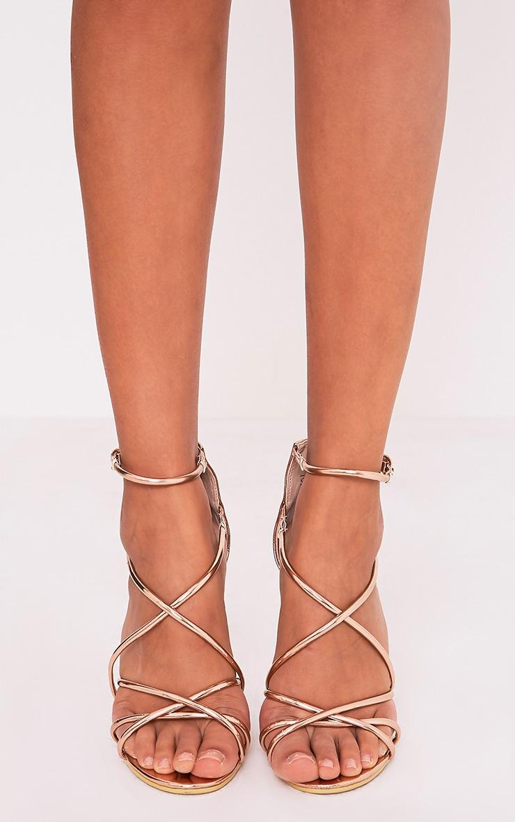 Duaya Rose Gold Metallic Multi Strap Heeled Sandals 3