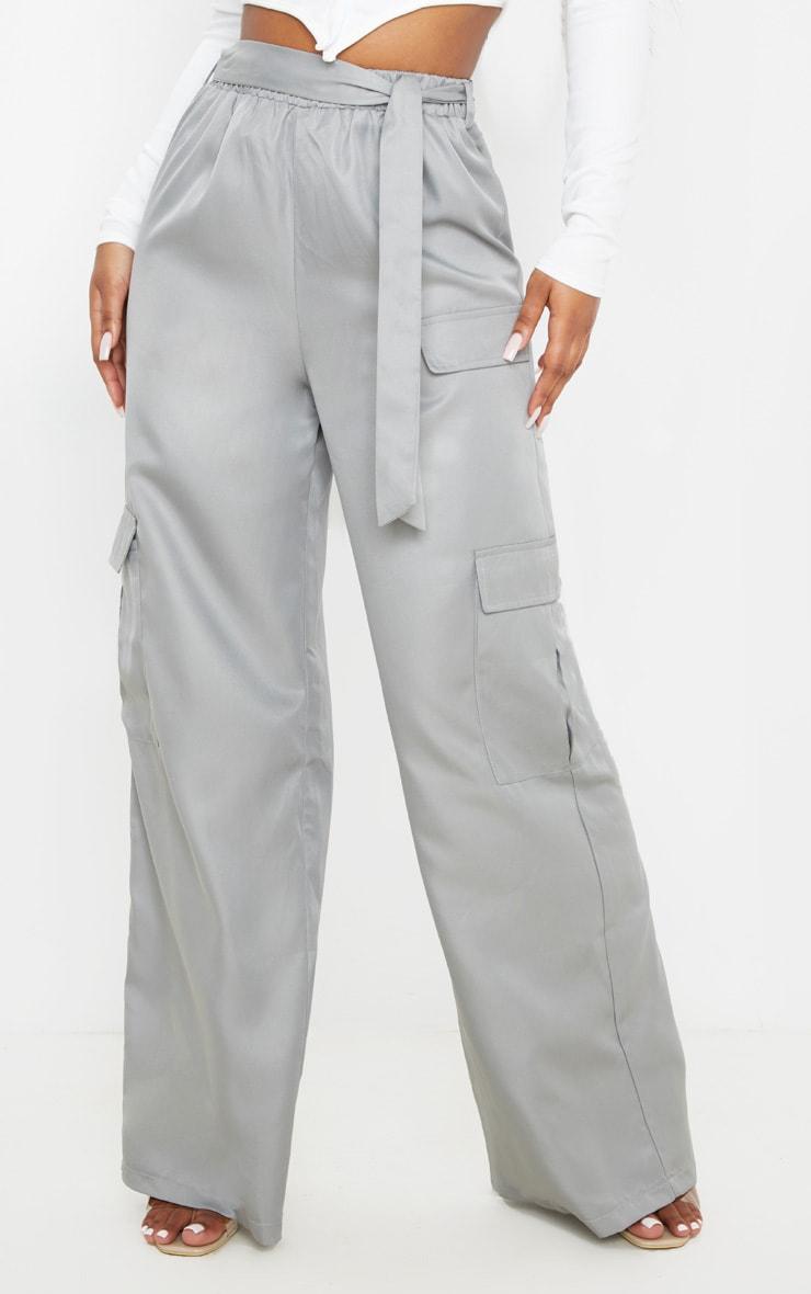 Grey Tie Waist Wide Leg Cargo Pants 2