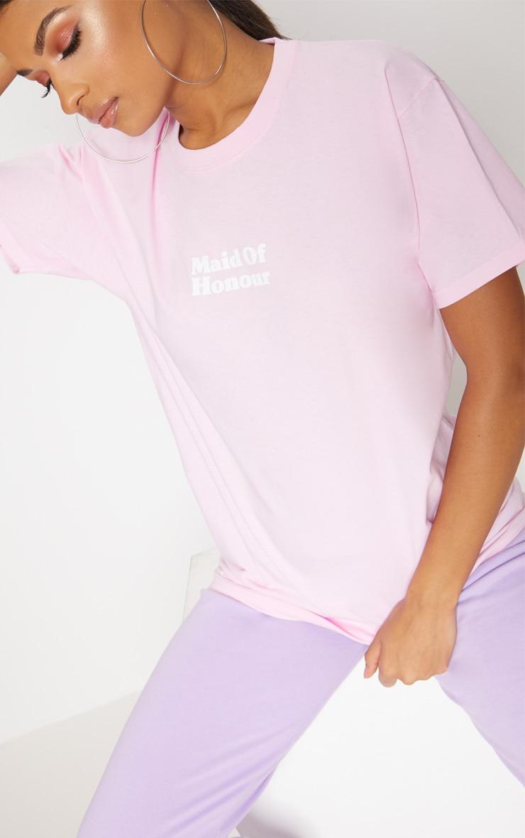 Baby Pink Maid Of Honour Slogan T Shirt 5