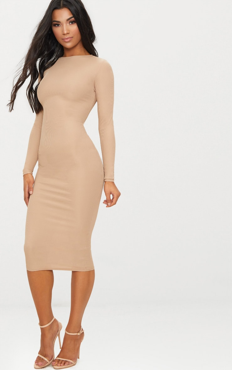 Stone Ribbed Long Sleeve Midi Dress 4