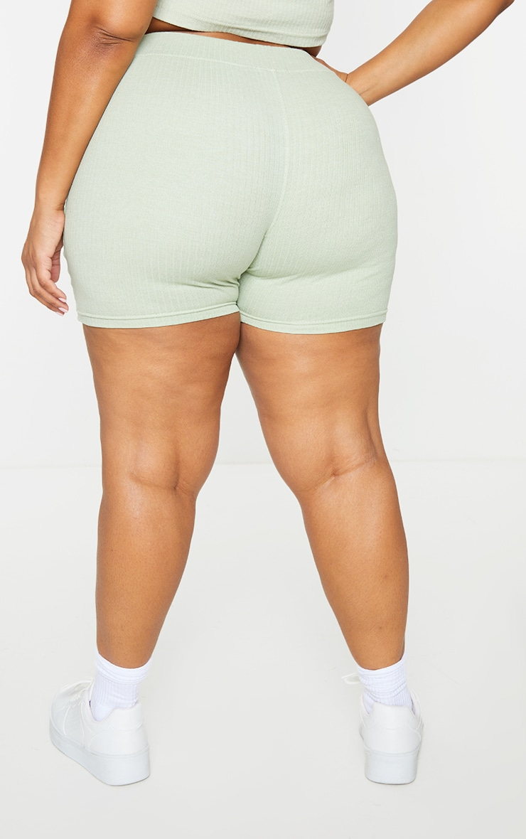 PRETTYLITTLETHING Plus Sage Green Ribbed Cycle Shorts 3