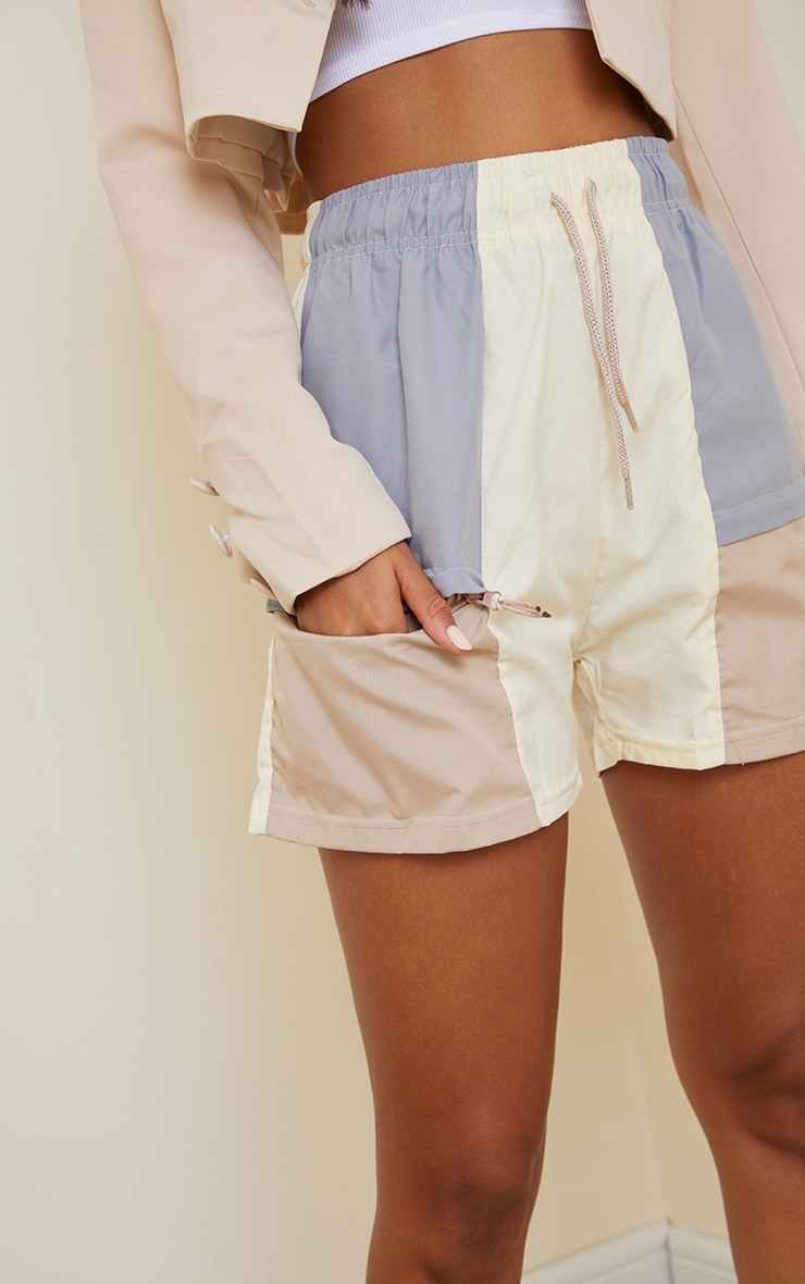 Stone Contrast Panel Peached Runner Shorts 5