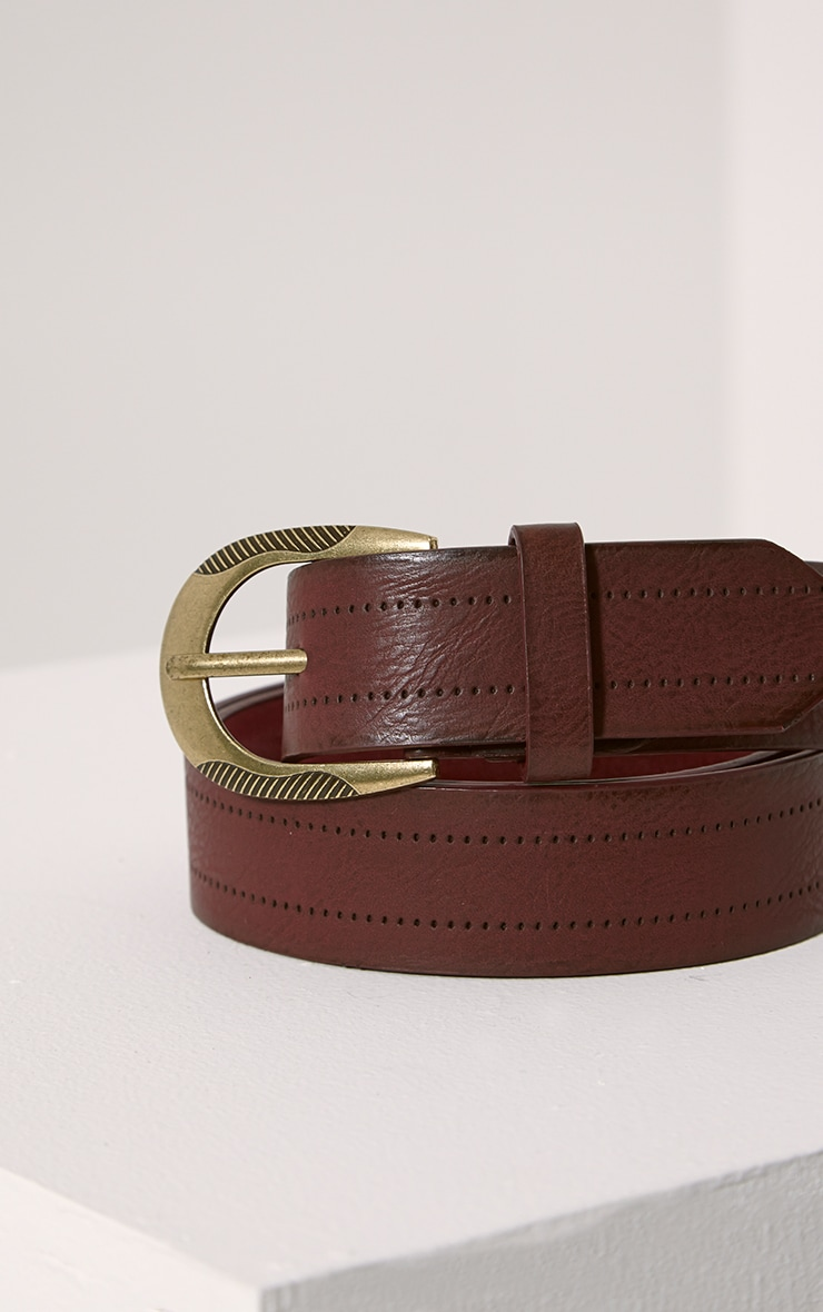 Helene Burgundy Wide Leather Belt 2