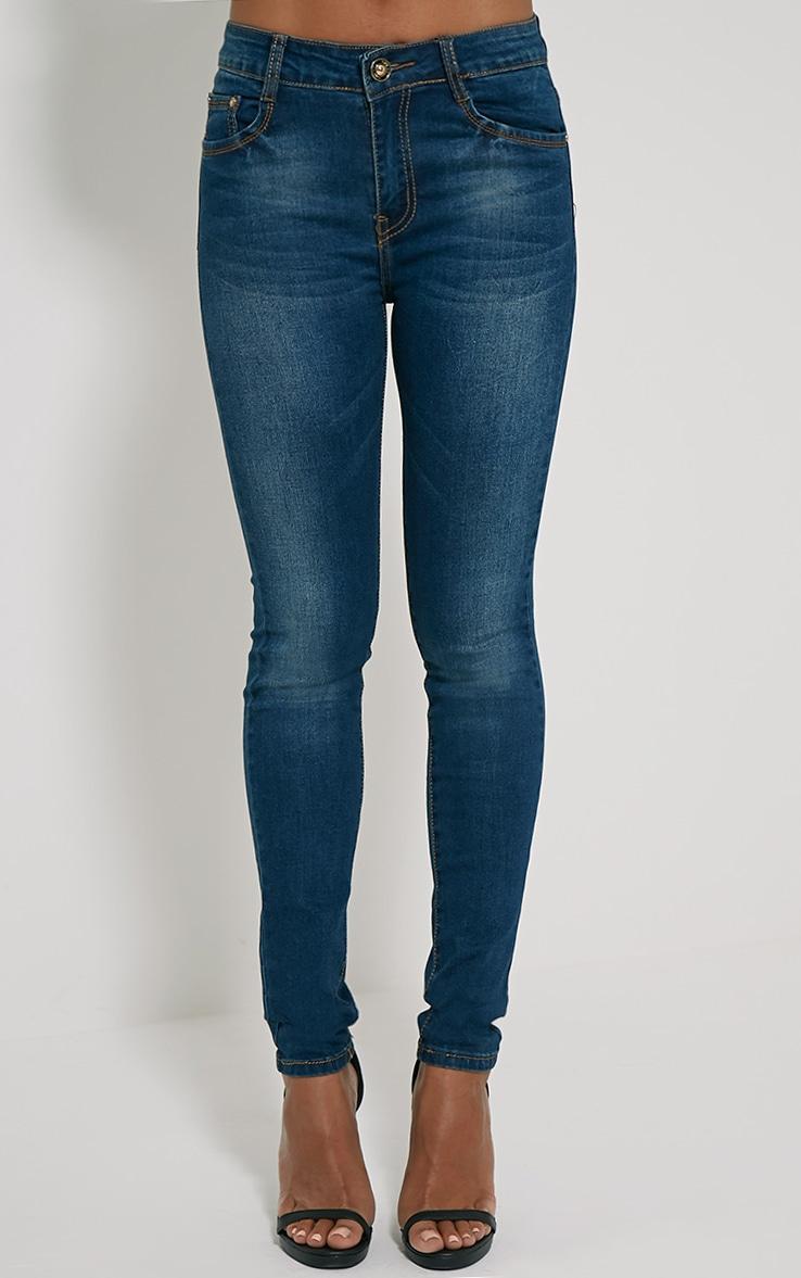 Teegan Dark Blue Wash Skinny Jean 2