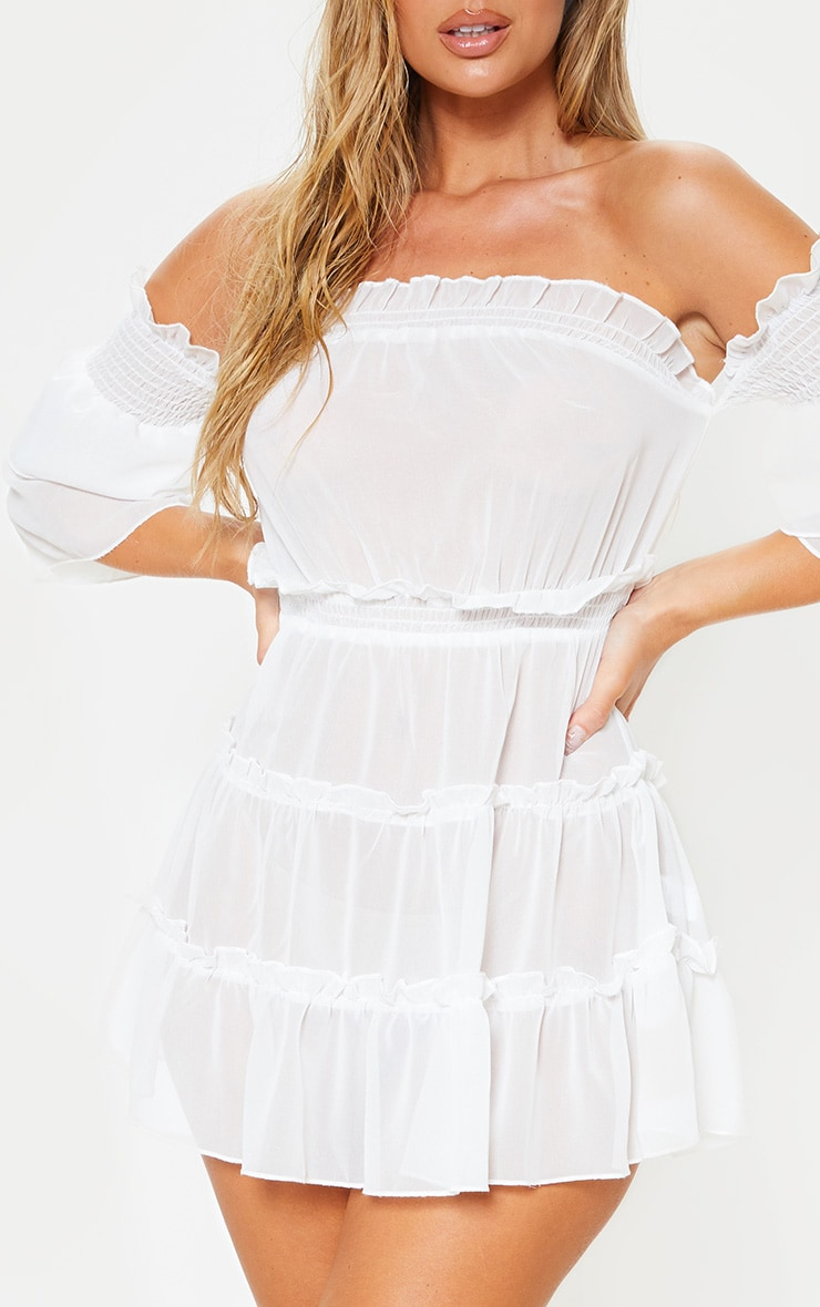 فستان شاطئ بكتف ساقط أبيض مع طيات 5