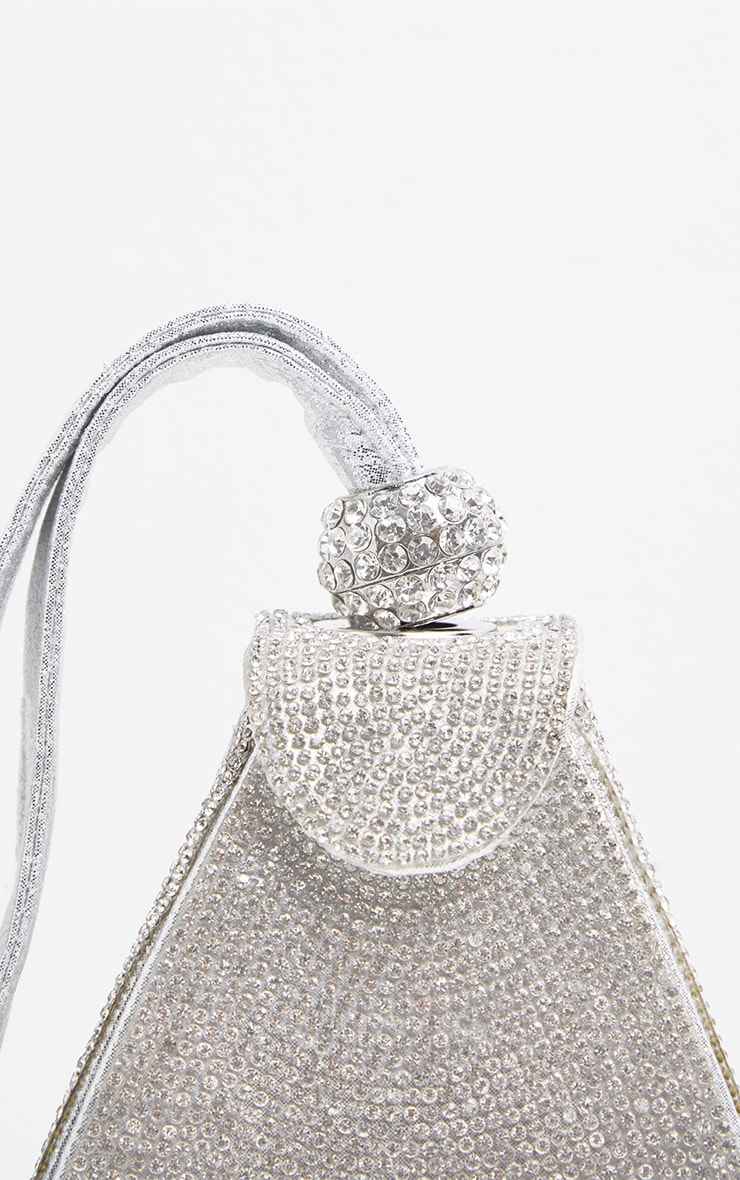 Silver Diamante Pyramid Mini Bag 4