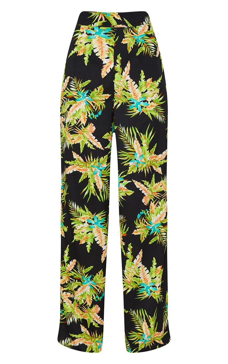 Black Tropical Print Wide Leg Trouser 3