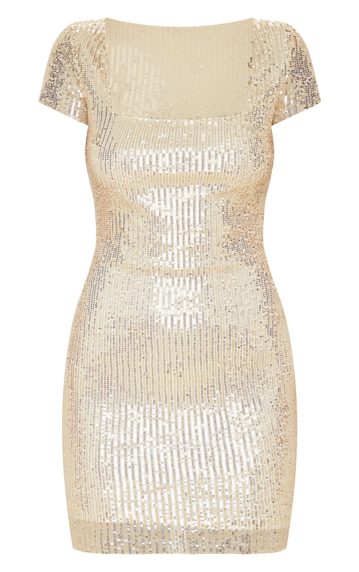 Gold Sequin Short Sleeve Bodycon Dress 3