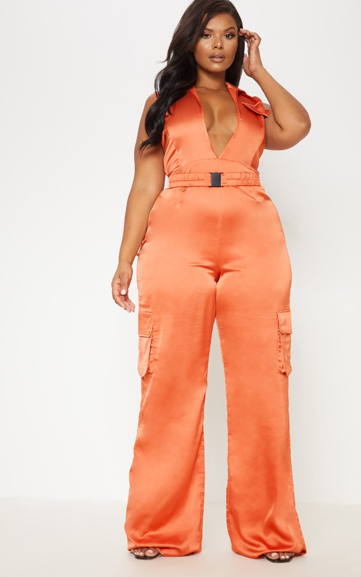 Rust Plunge Utility Pocket Detail Jumpsuit 2