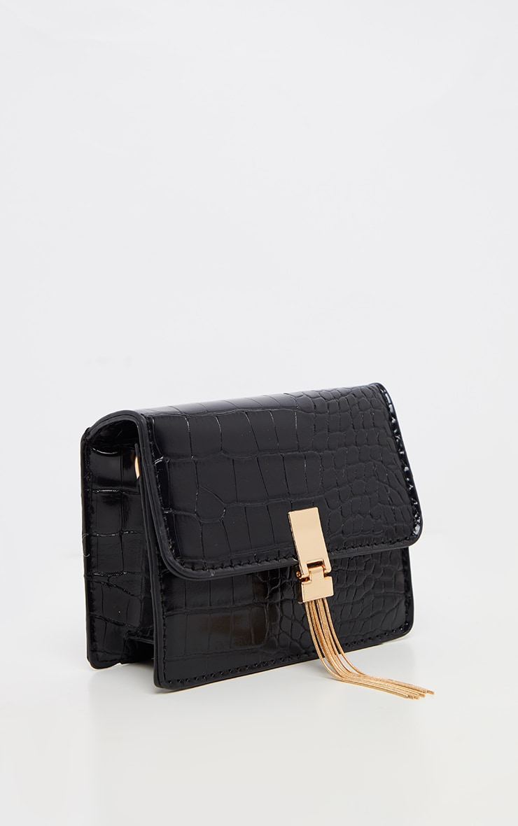 Black Croc Style Cross Body Bag 2