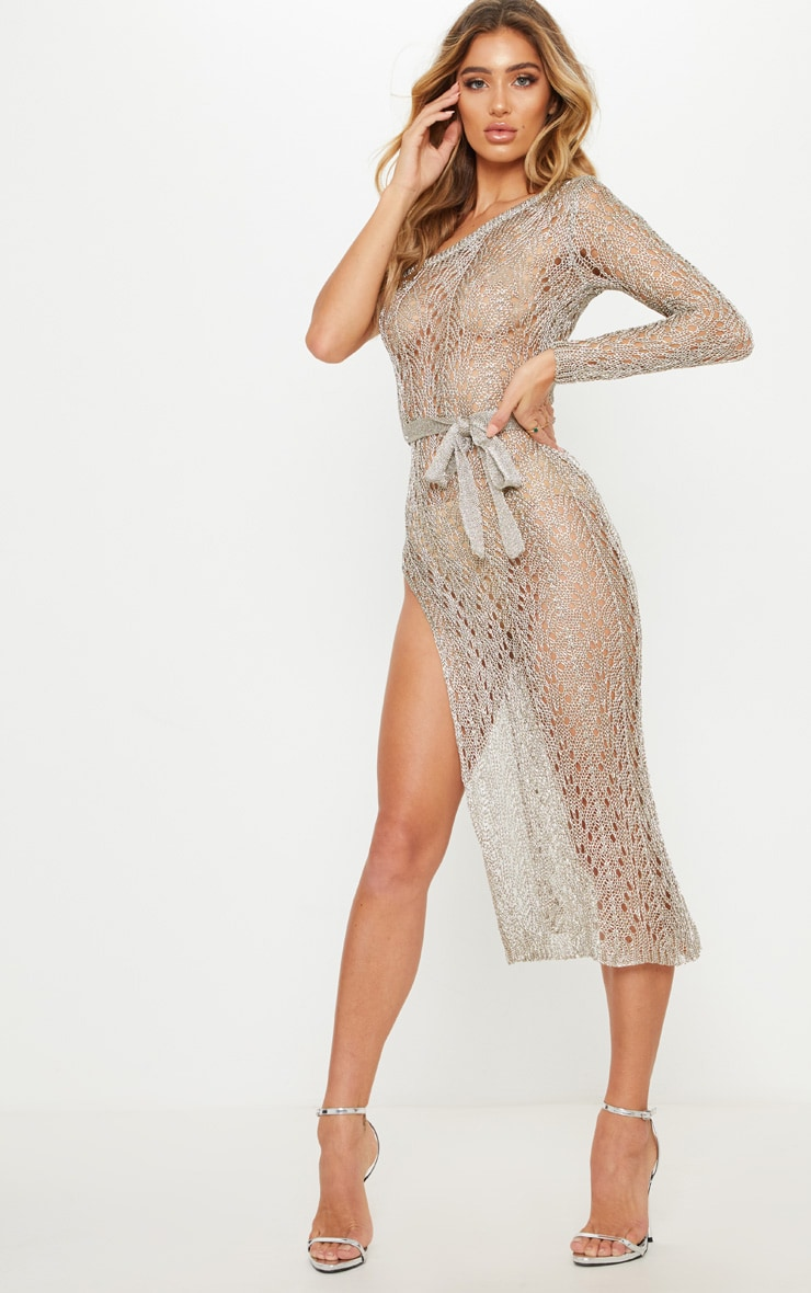 Silver Asymmetric Open Knit Metallic Dress