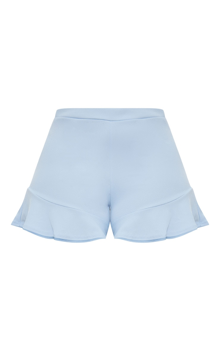 Plus Baby Blue Frill Hem Shorts 3