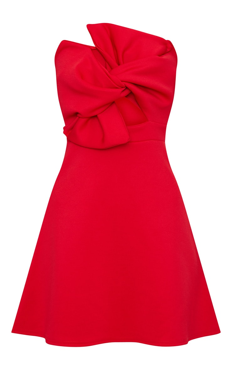 Red Bow Detail Scuba Skater Dress 3