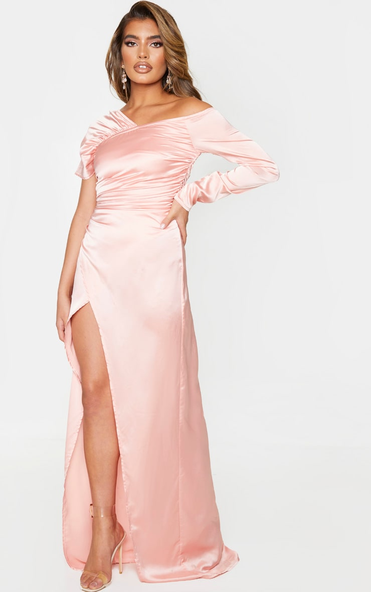 Peach Satin Bardot Maxi Dress 3