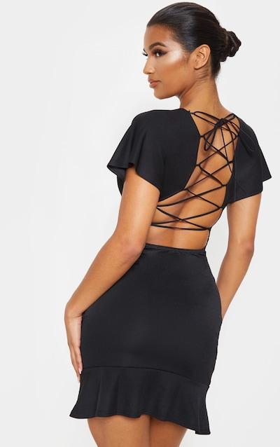Black Criss Cross Back Frill Hem Bodycon Dress