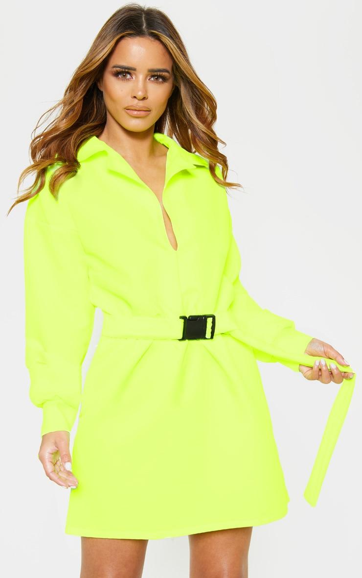 Petite - Robe chemise cargo vert citron fluo à ceinture 4