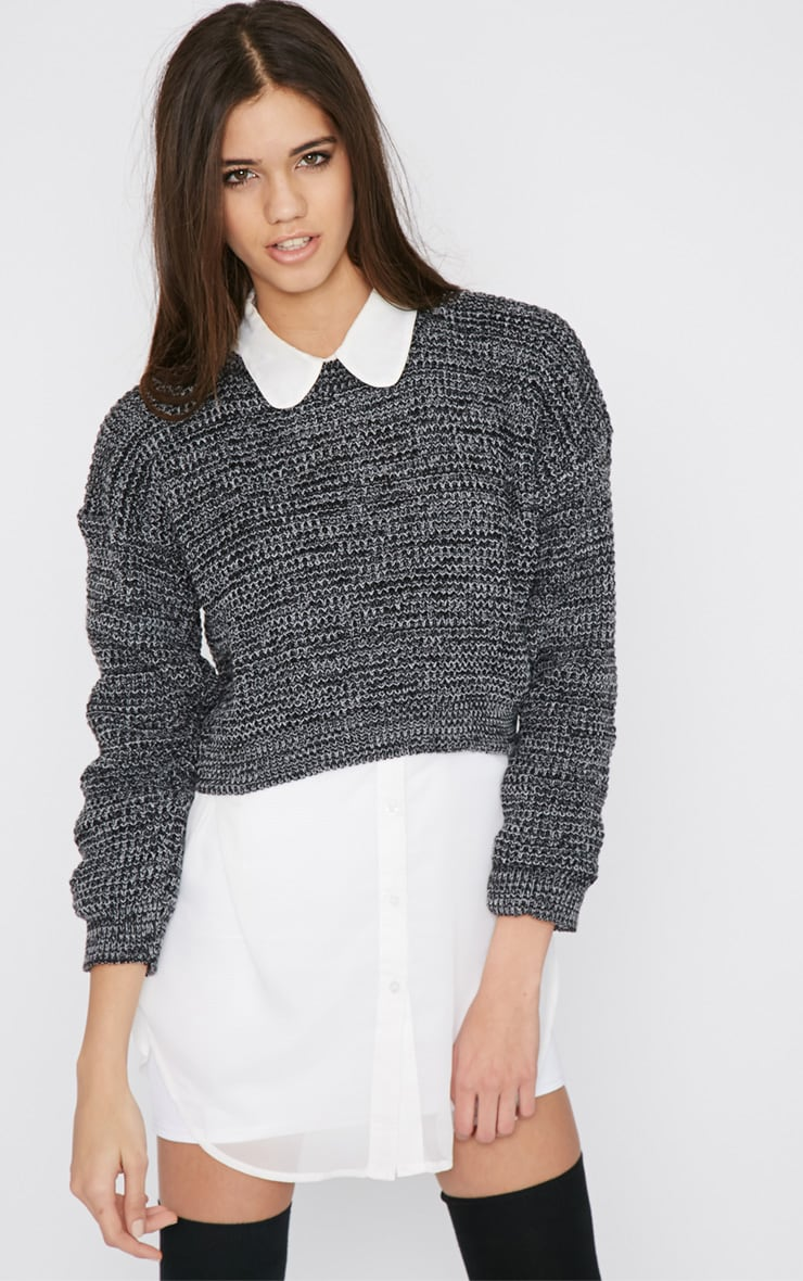 Lucia Grey Knitted Crop Jumper 1