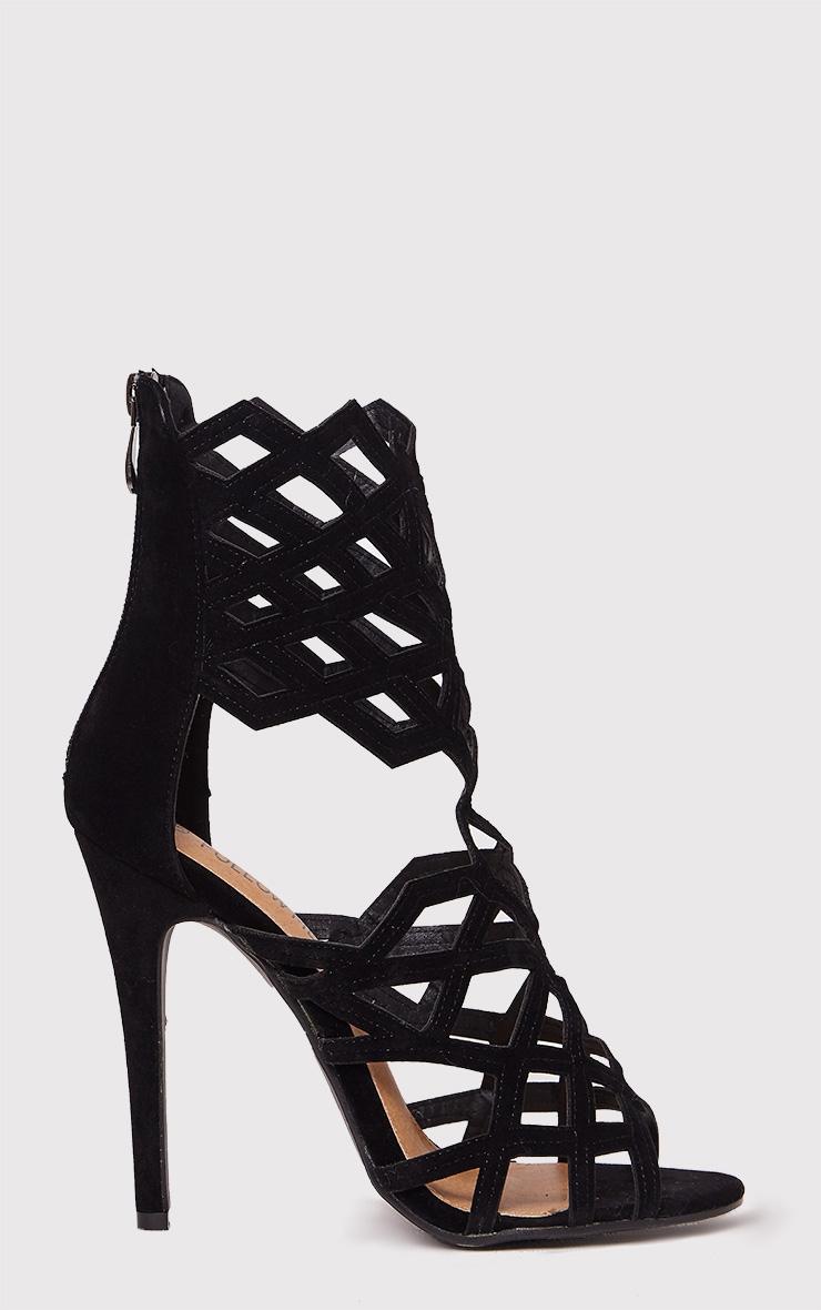 Derica Black Faux Suede Honeycomb Heels 1