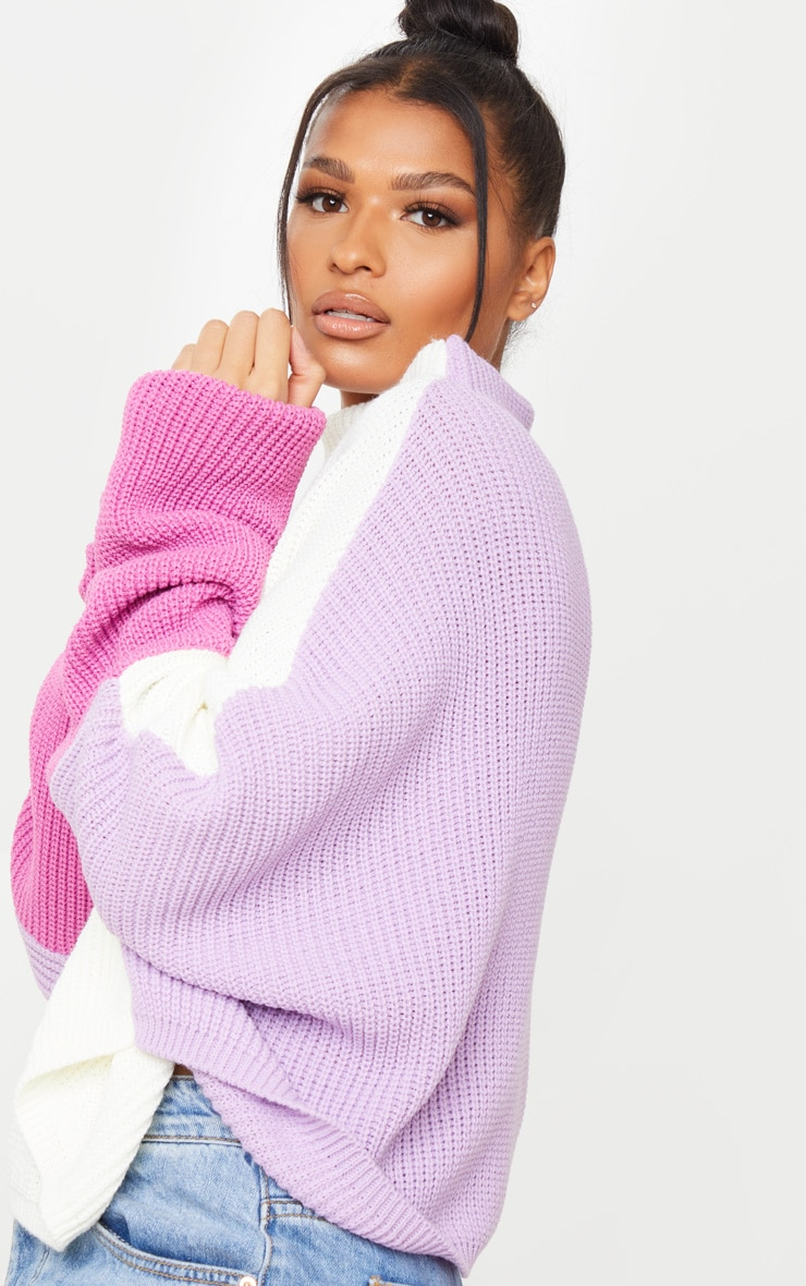 Lilac Oversized Color Block Sweater 4