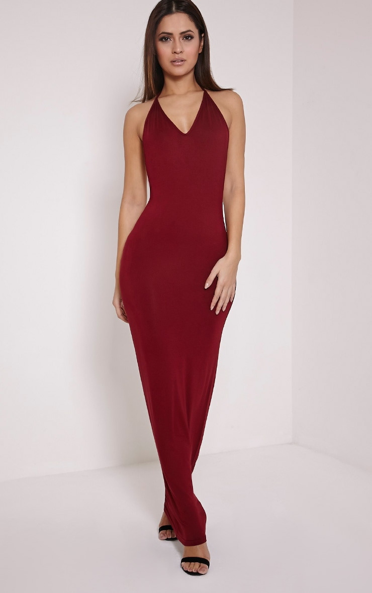 Basic Burgundy T Bar Back Maxi Dress 3